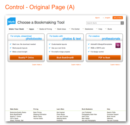 Benchmarking tool control page