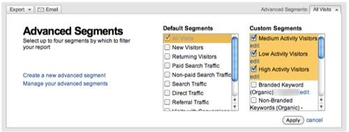Google Analytics Advanced Segments Selector