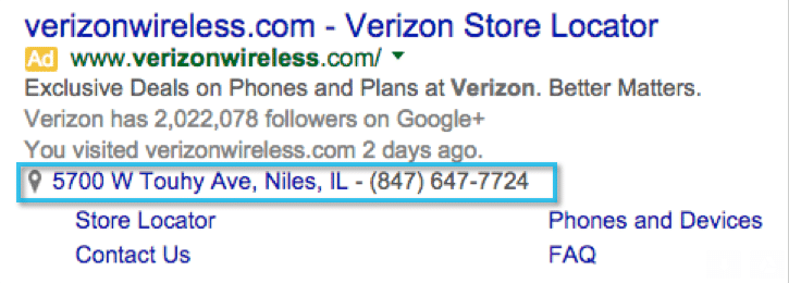 Verizon Google Adwords Location Extension Example