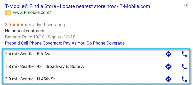 Smartphone Google Adwords Location Extensions Example