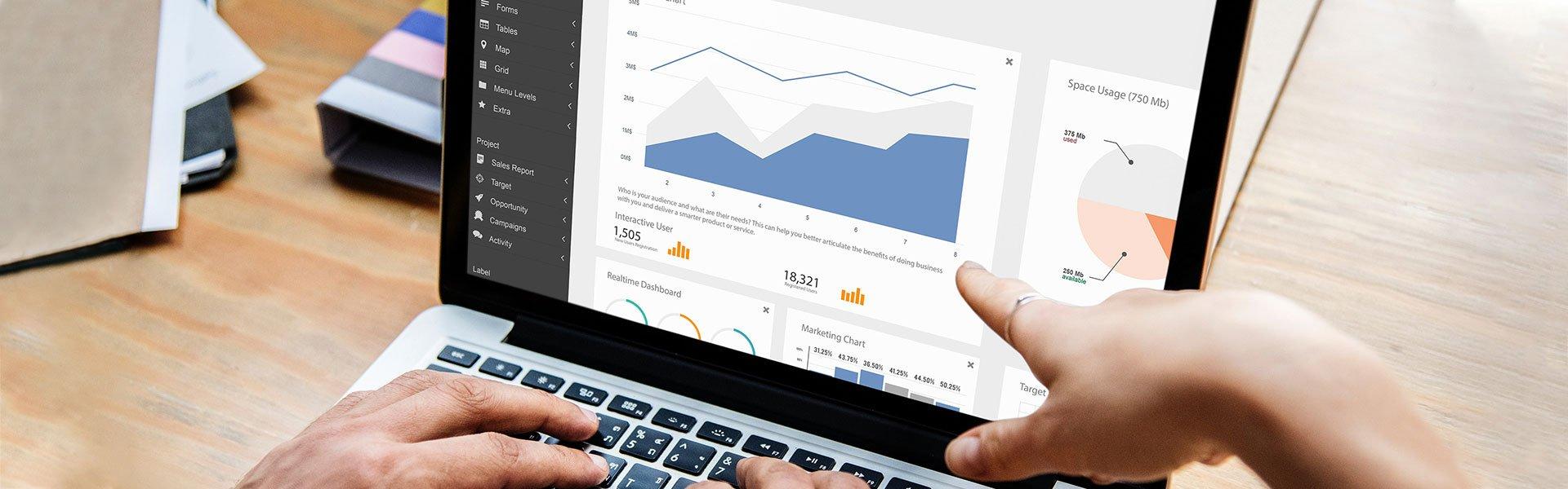 dashboard data visualization on a computer screen