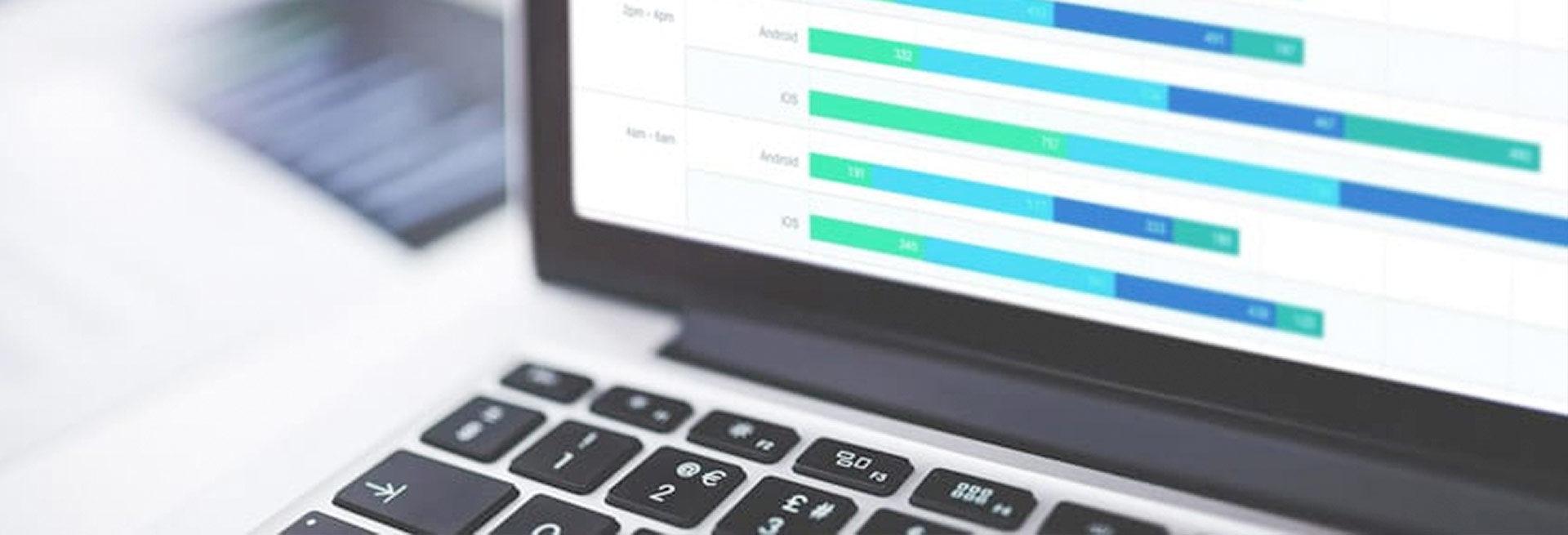 Mixpanel dashboard on laptop