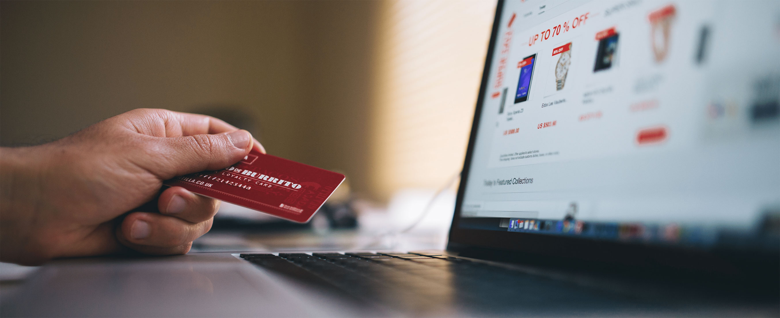 consumer make online purchase on laptop