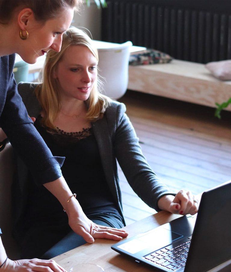 coworkers examining customer segmentation on laptop