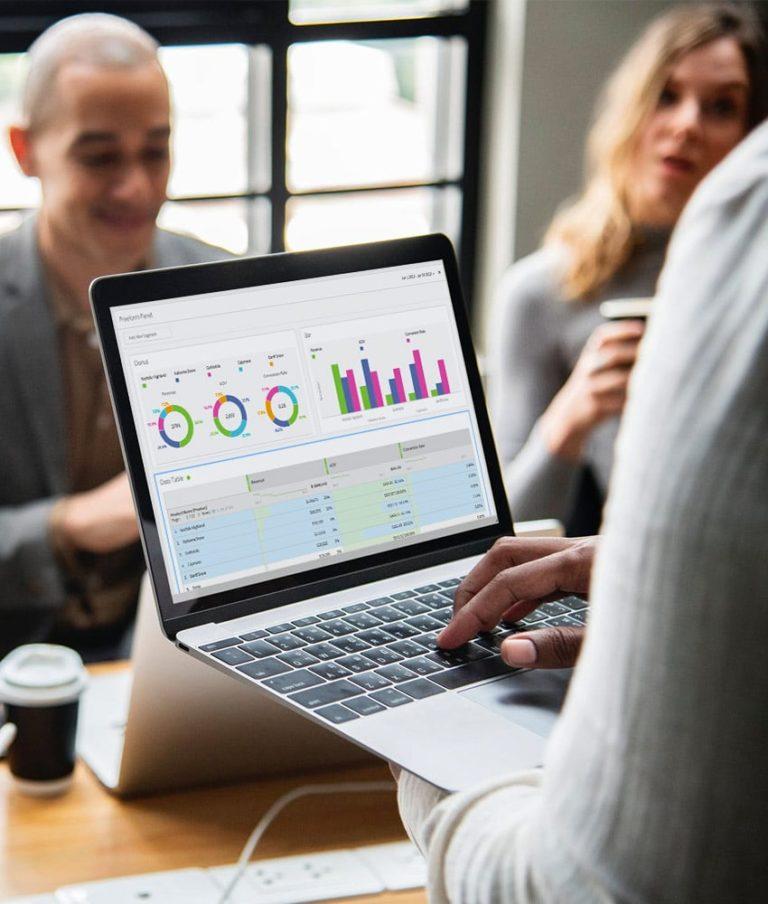 laptop displaying dashboard visuals