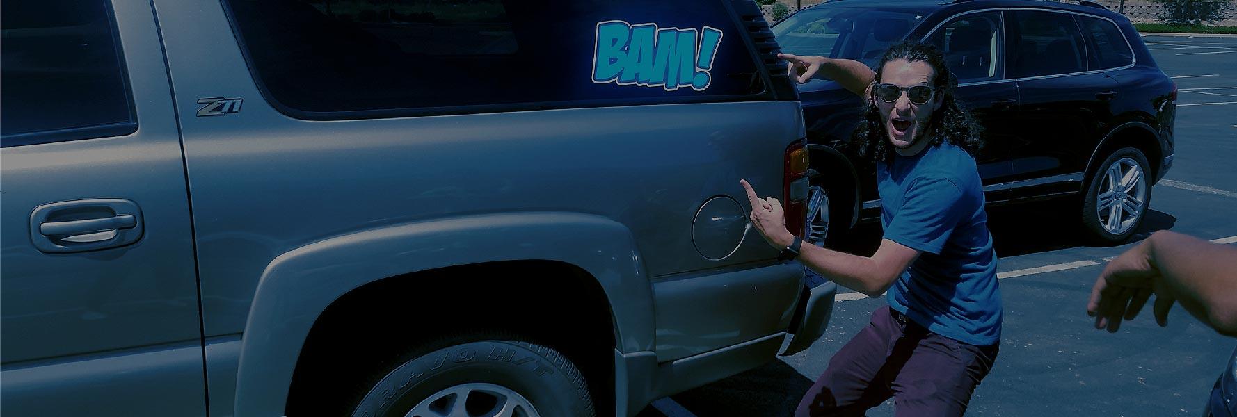 brad millett with BAM sticker on car