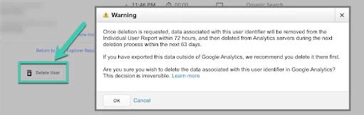 google analytics data deletion prompt screenshot