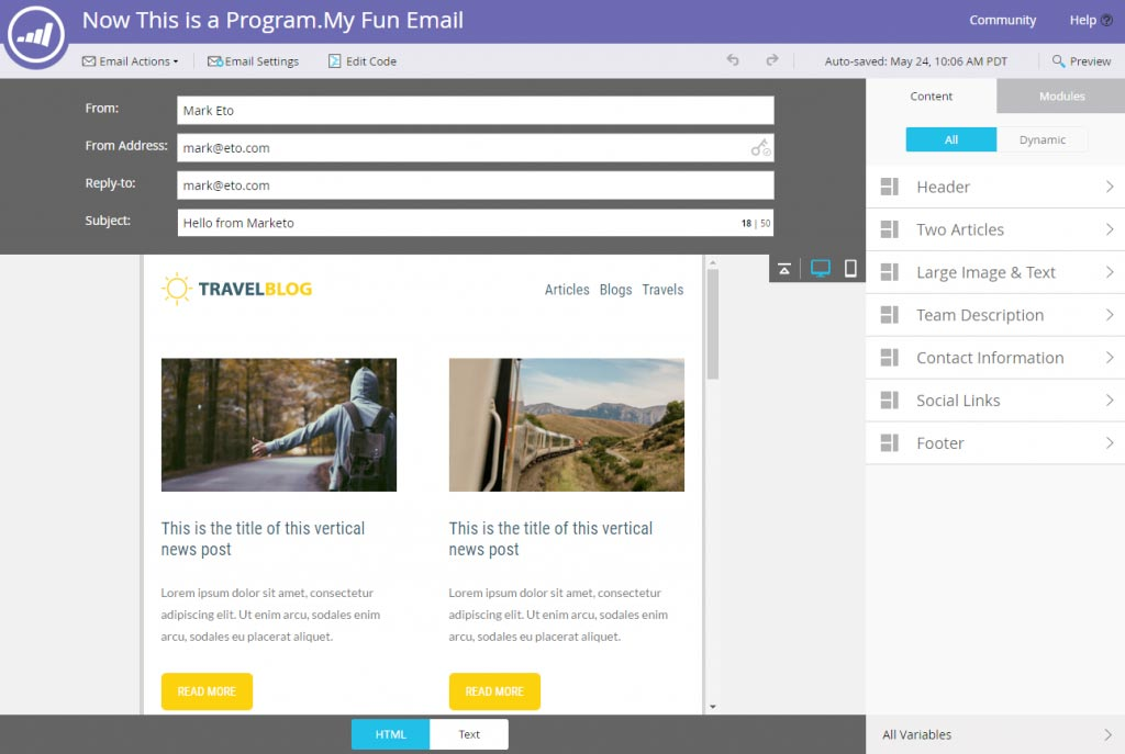 screenshot of marketo's new email editor