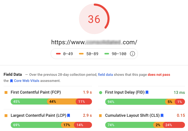 part of google's pagespeed insights test