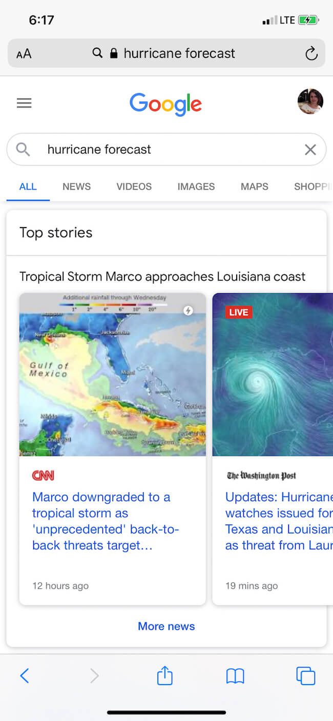 example of google top web stories which will change with page experience update