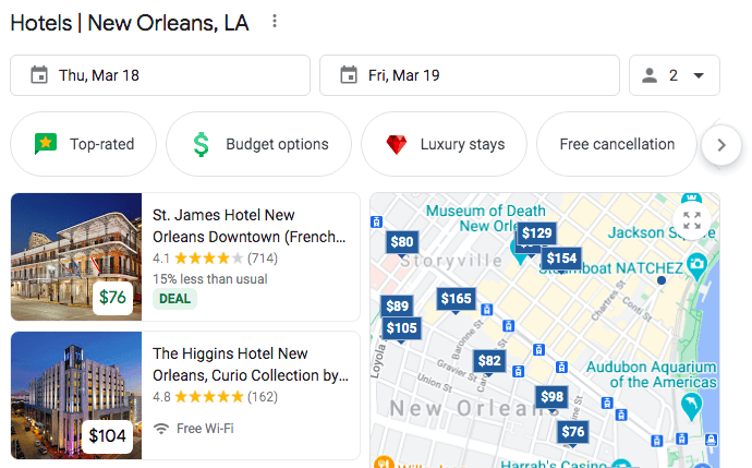 example of google travel industry result type
