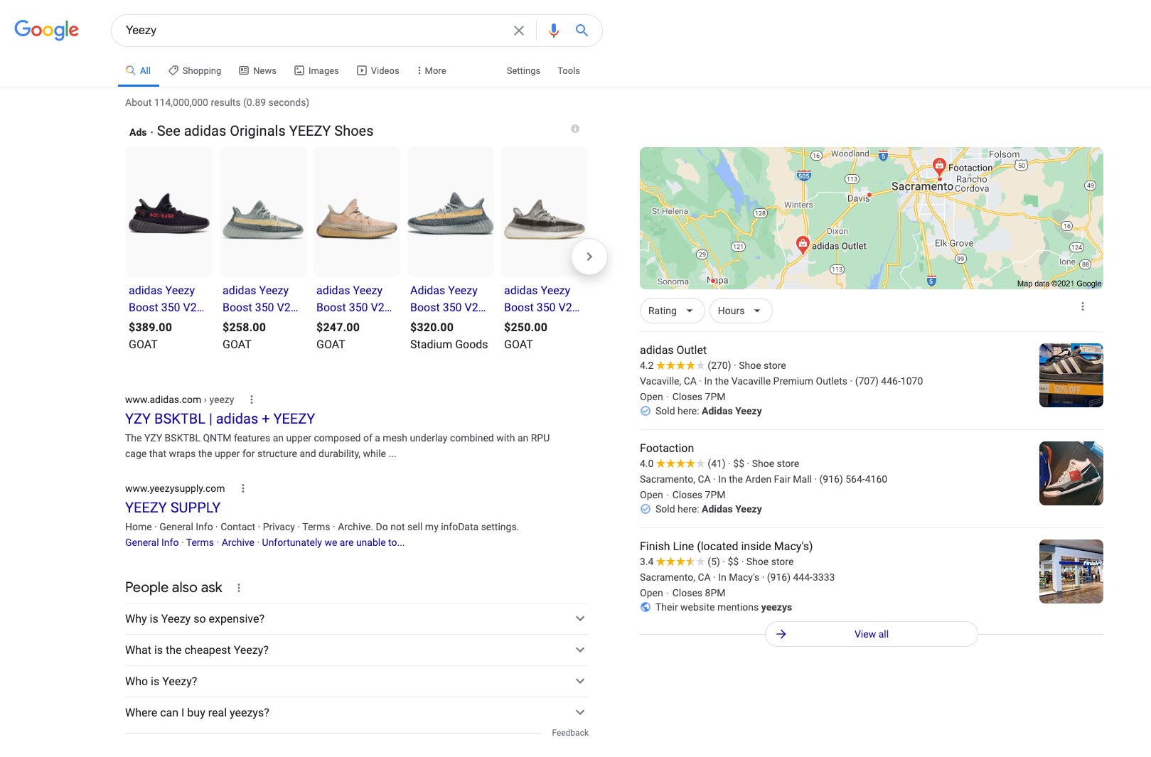 google search results example screen shot