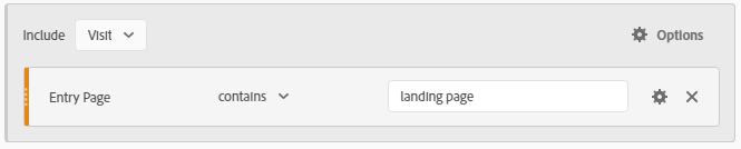 example of data set that only includes visits to the landing page