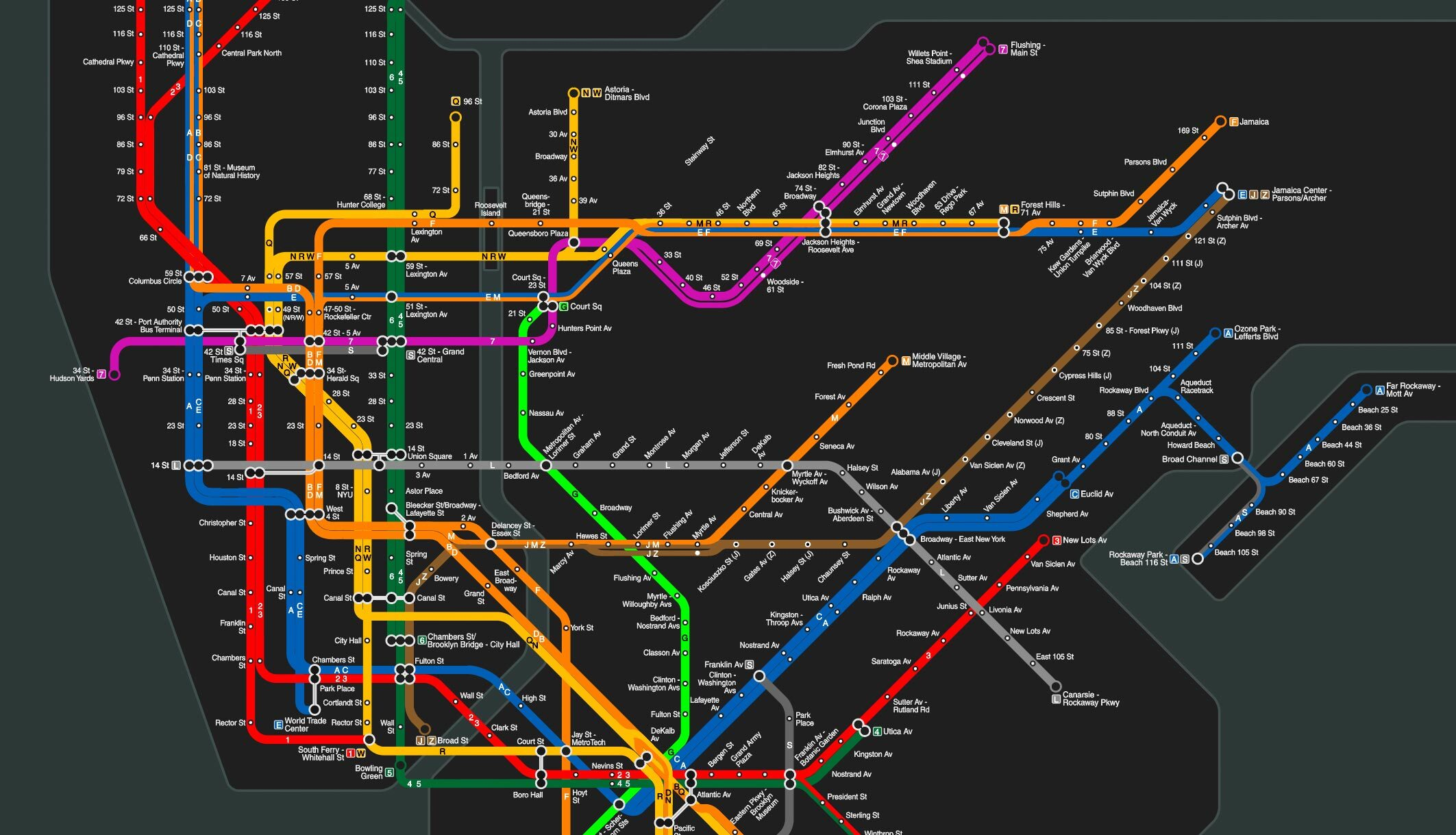 map of new york cities subway system representing customer journey