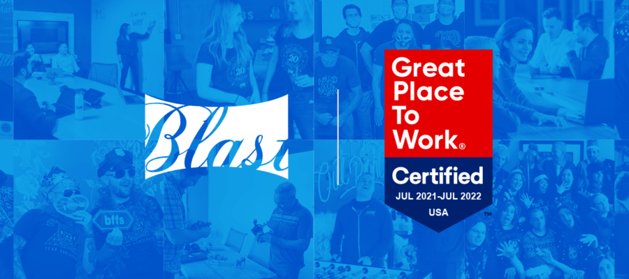 Blast Analytics Great Place to Work Certified 2021