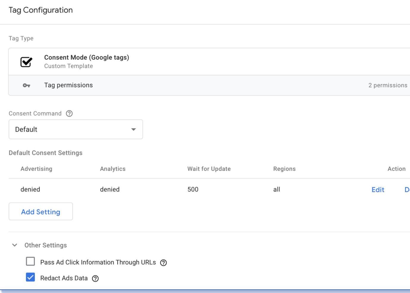 consent mode screen in google analytics 4 GA4