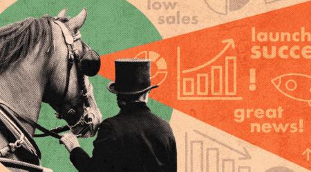 man presenting data with positivity bias