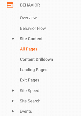google analytics website view of the behavior menu