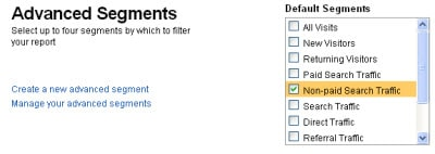 Google Analytics Advanced Segment Non-Paid Search Traffic