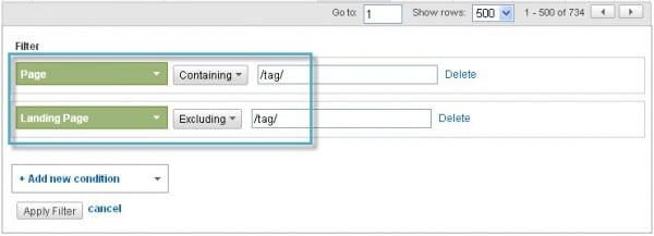 Google Analytics Content Advanced Filters