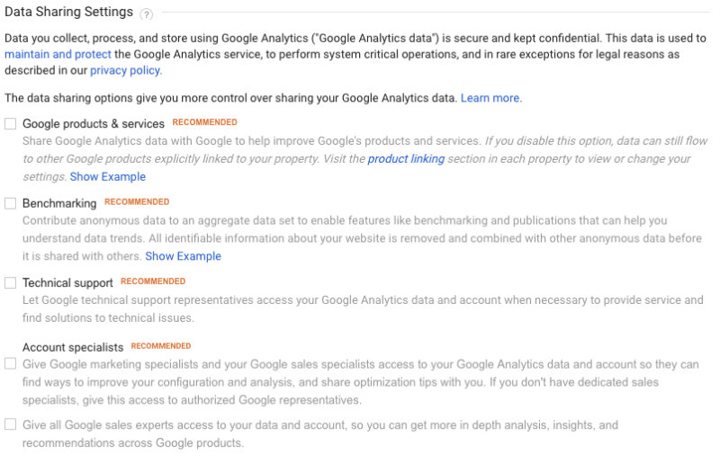 screen grab representing data sharing settings in google analytics for gdpr
