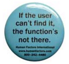 Usability Button from Human Factors International Poking Fun at Invisible Usability Functions