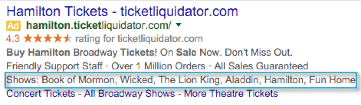 Adwords Structured Snippets for Hamilton correct usage
