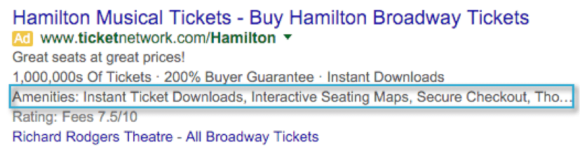 Adwords Structured Snippets for Hamilton incorrect usage