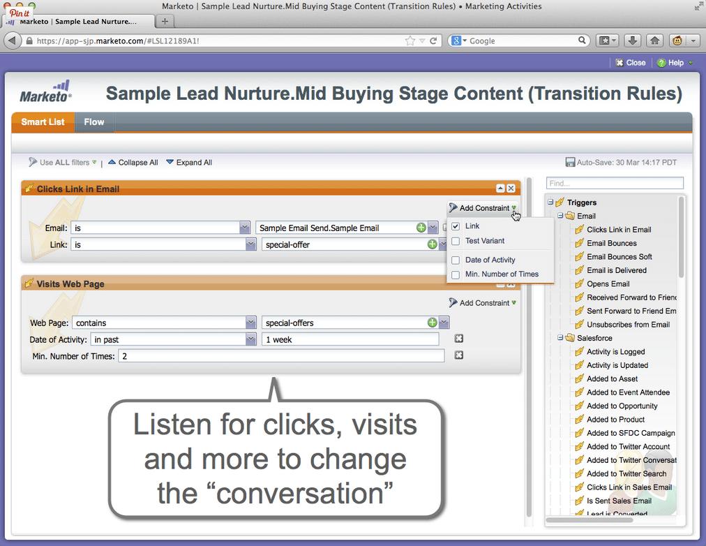 Marketo Marketing Automation Lead Nurture screen