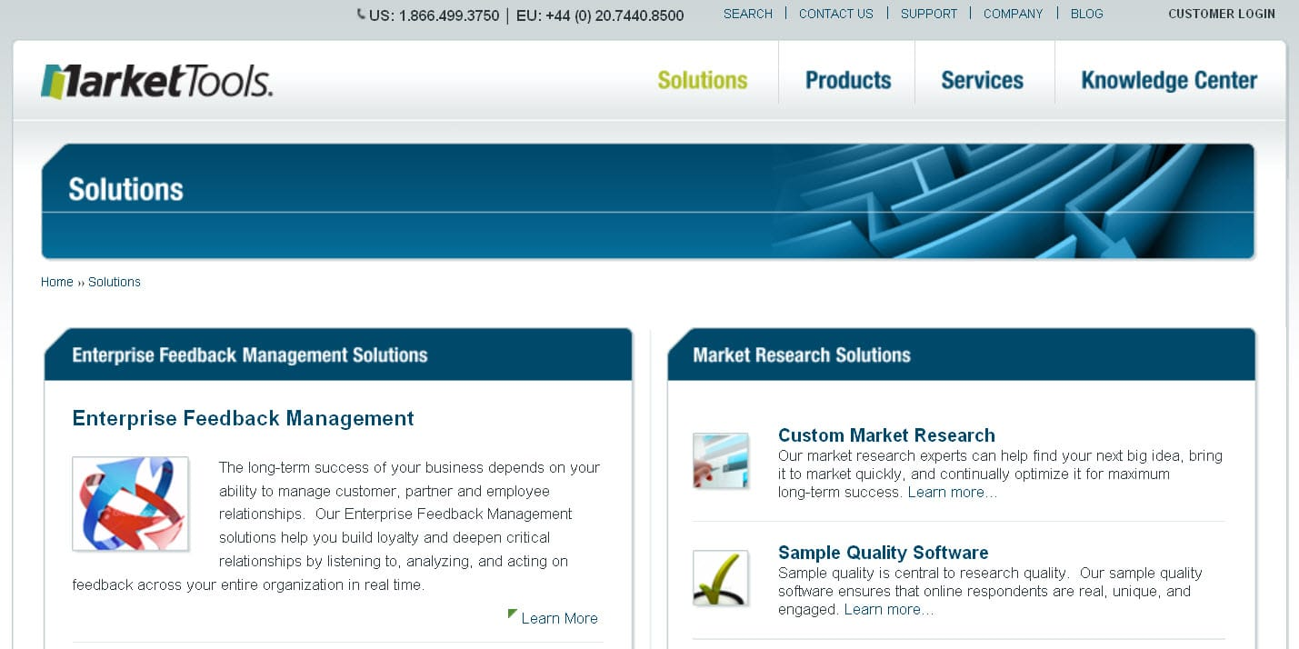 MarketTools.com uses SEO in their page names and section headings to enhance user experience.