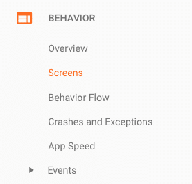 google analytics mobile view of the behavior menu