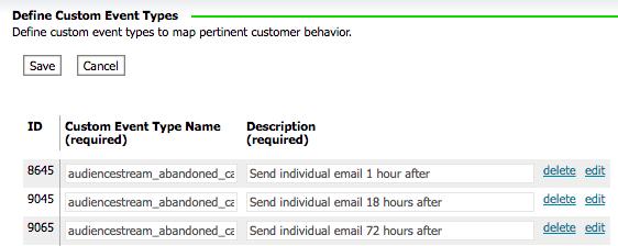 screenshot of Responsys custom event defintiions