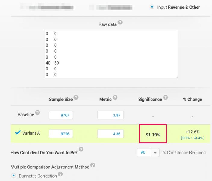 revenue calculator not using mann-whitney u test