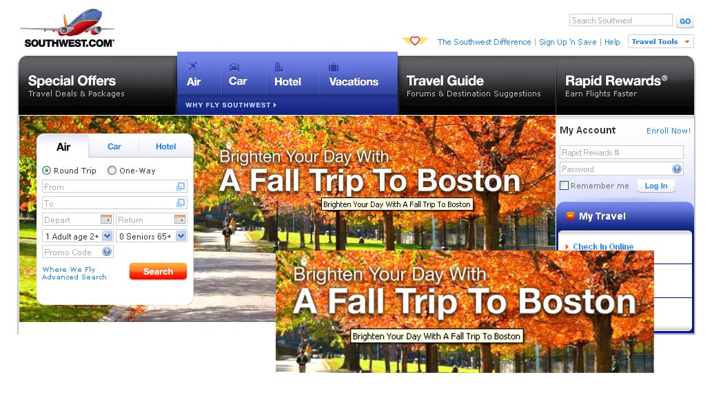 Southwest Airline uses ALT tags on images to make their site search engine AND user friendly.