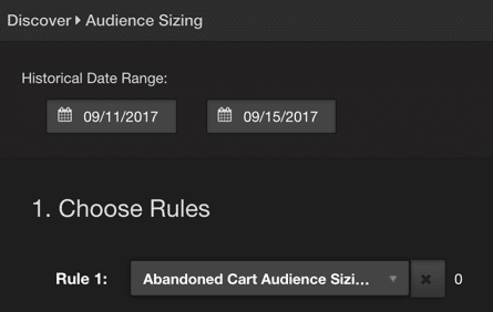 screenshot of AudienceStream audience sizing tool