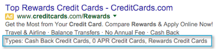 Adwords Structured Snippets for credit cards
