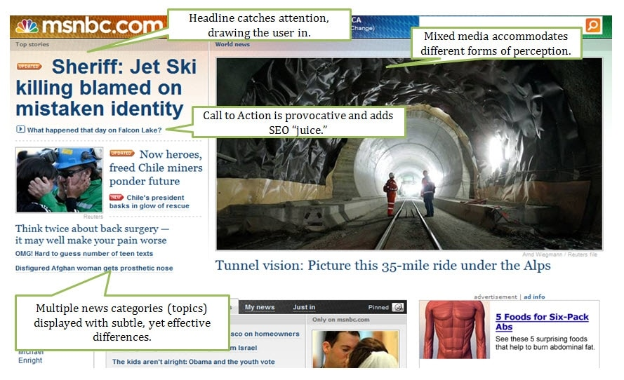 News sites structure their content to accomodate the User Experience and SEO