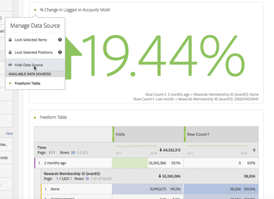 screenshot showing how to hide data source in adobe analytics report
