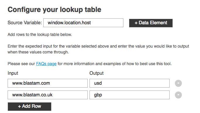 example of how to configure lookup table for adobe launch extension