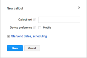 Google Adwords Callout Ad Extension Edit Window