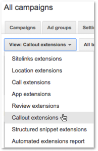 Google Adwords Callout Extensions View Drop-Down
