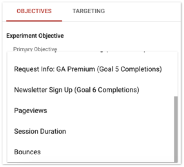 analytics 360 goals in optimize 360 screenshot
