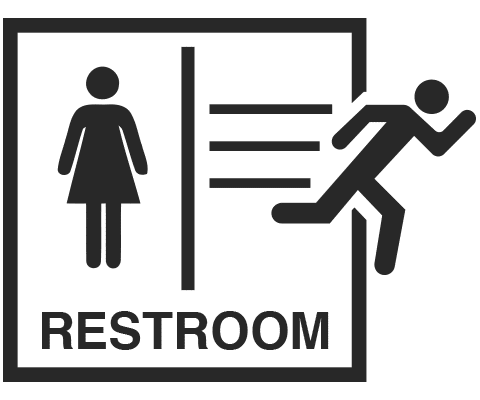 graphic of bathroom sign with man running away