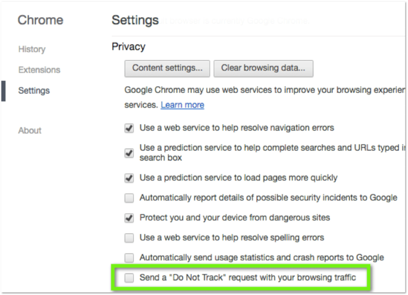 Chrome Browser Do Not Track (DNT) settings screenshot