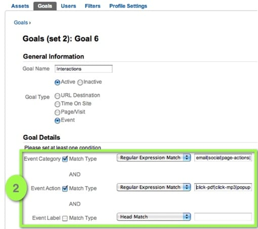 Use Event Category, Action and Label as Goal Conditions