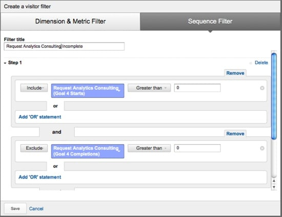 Google Analytics Remarketing Lists - Sequence Filter Example