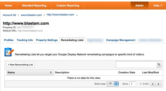 Google Analytics Remarketing Lists Screenshot