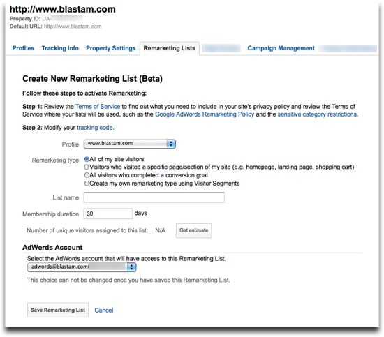 Google Analytics Remarketing Lists - Create New