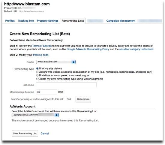 Google Analytics Remarketing Lists - Create New