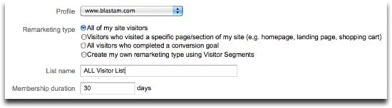 Google Analytics Remarketing Lists - All Visitor Example